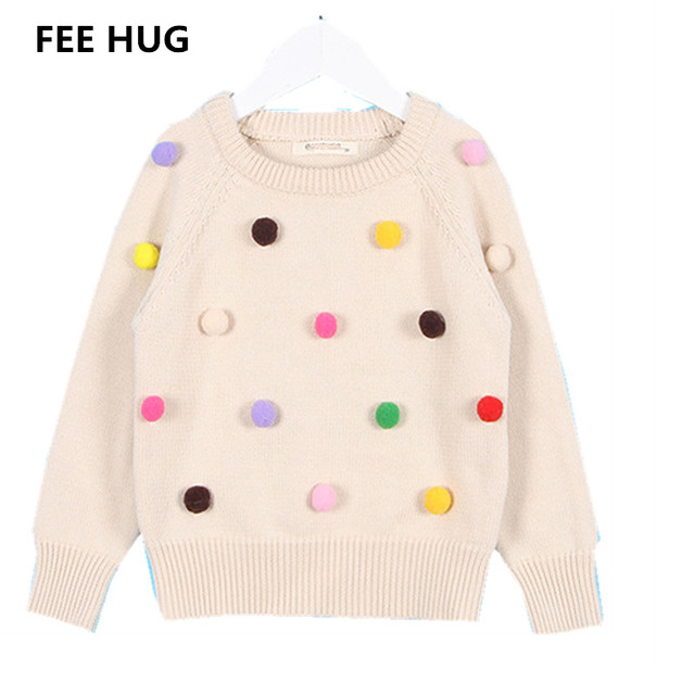 26e5a97e1f081d FEE HUG Kids Girls Knitted Sweater Colorful Pom poms Pullover Sweater Long  Sleeve Kids Tops Children Clothes