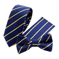 Fashion Gold and Navy Striped Tie Handkerchief Set for Men Suit Polyester Polka Dots Pocket Square Bow Tie Set for Wedding Party