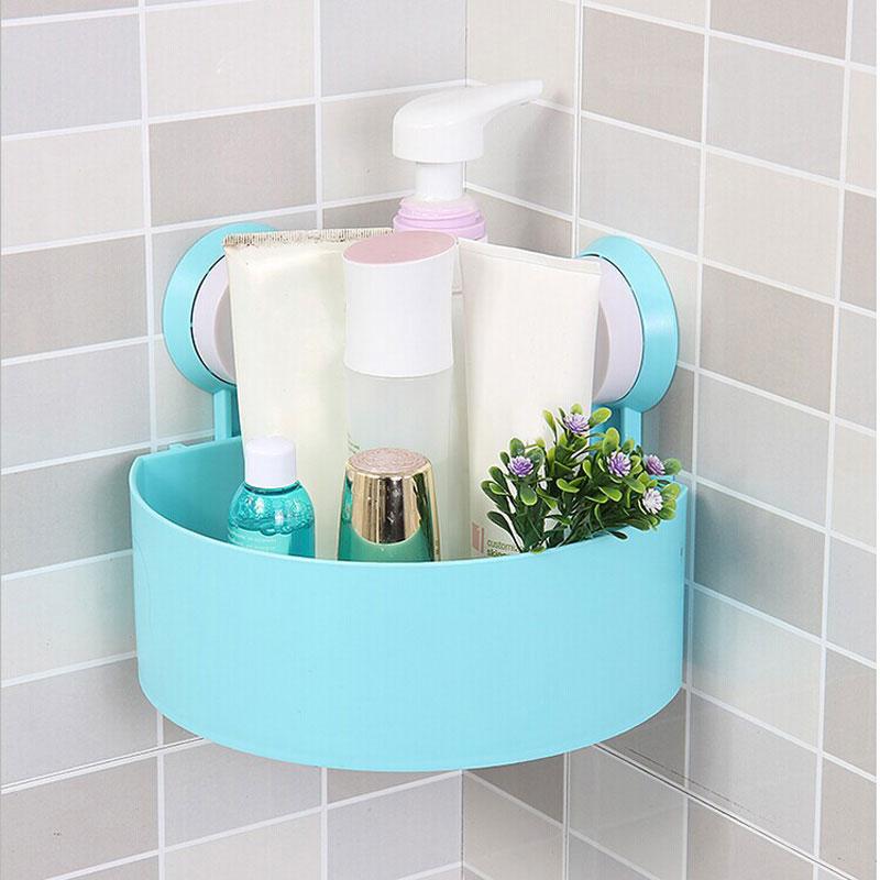 Double Sucker Design Sucker Corner Shelf Bathroom Kitchen ABS+PVC ...