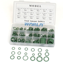Auto 265pcs 18 Sizes Green A/C HNBR O Ring Assortment Kit Car Air conditioner Rubber O-Ring Seal Washer Oil Seal Gasket