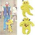 Pokemon Pikachu Onesie Mameluco del bebé Traje Lindo Traje Con Capucha Ropa Infantil