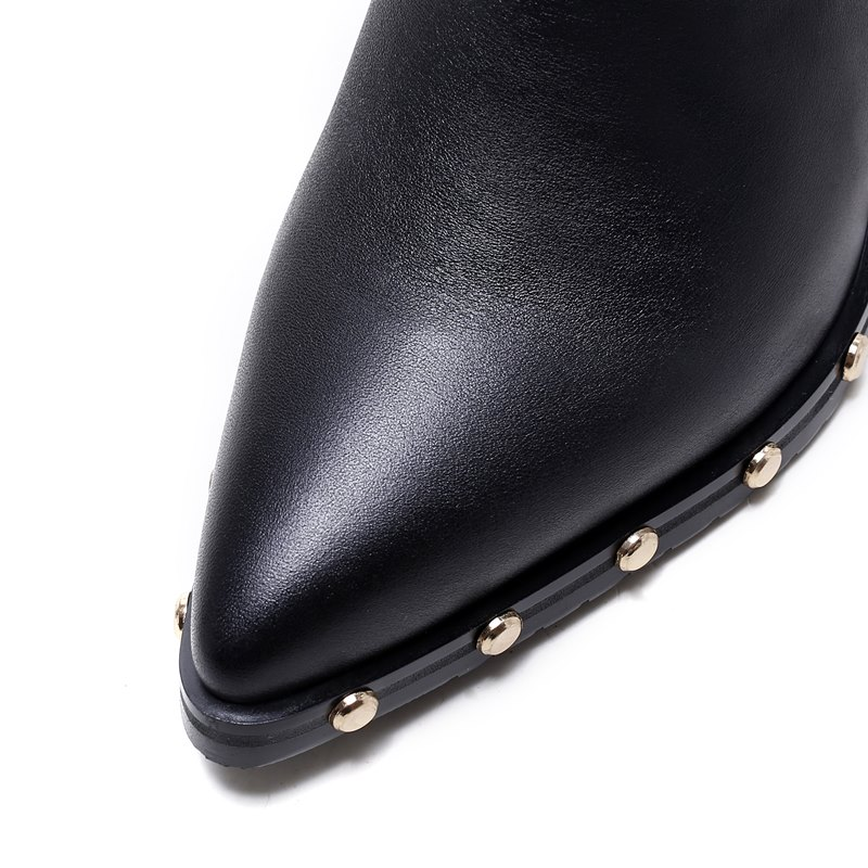 Ayakk.'ten Ayak Bileği Çizmeler'de ALLBITEFO moda marka hakiki deri sivri burun takozlar topuk platformu kadın çizmeler perçinler yüksek topuklu deri çizmeler yarım çizmeler'da  Grup 3