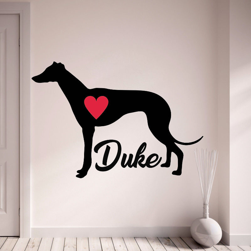Greyhound Wall Decal Personalize With Your Dogs Name Wall Stickers Pet Dogs Home Decor With Red Heart Living Room L142