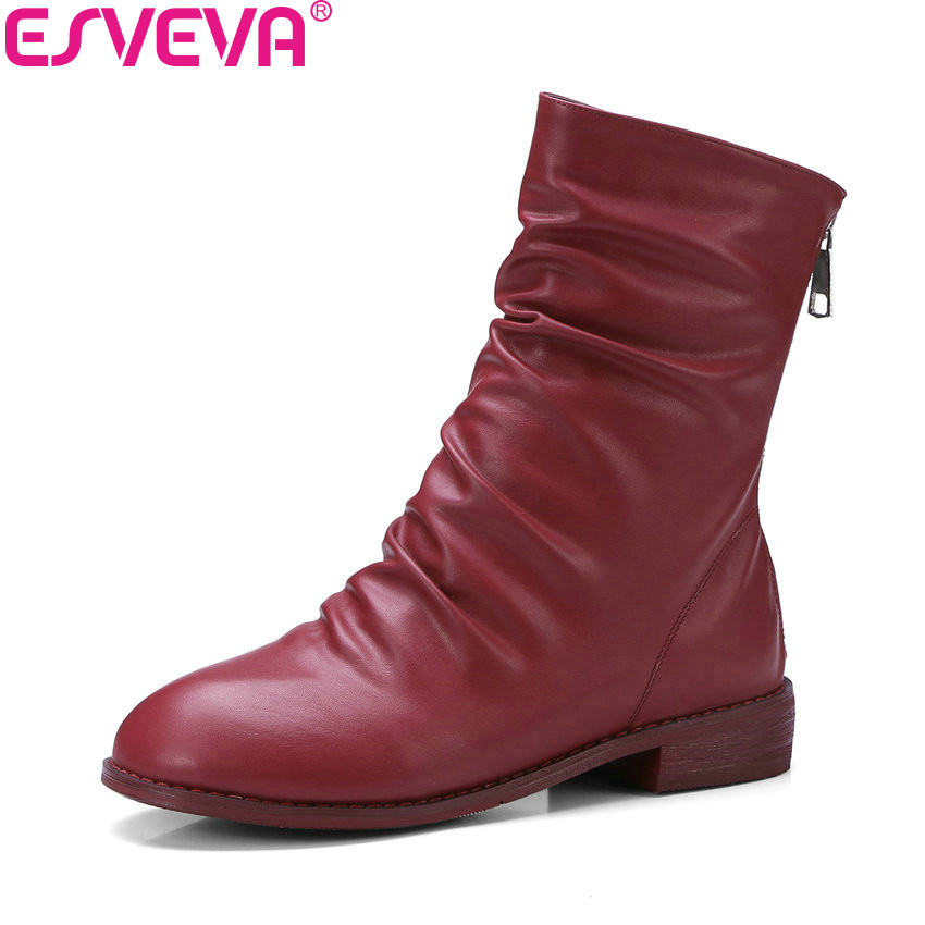 ESVEVA 2018 Women Boots Round Toe Square Low Heels Ankle Boots Chunky Short Plush Appointment Out Door Ladies Boots Size 34-43 esveva 2018 high heels women boots short plush boots square heels elegant chunky pointed toe ankle boots ladies shoes size 34 39
