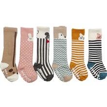Хлопковые гольфы с животными для малышей чулочно-носочные изделия Meias Infantil, теплые нескользящие носки с лисой носки на резиновой подошве для маленьких мальчиков и девочек