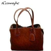 ICeinnight Fashion Solid Women Handbags Soft PU Leather Women Top Handle Tote Bags Famous Brand Popular