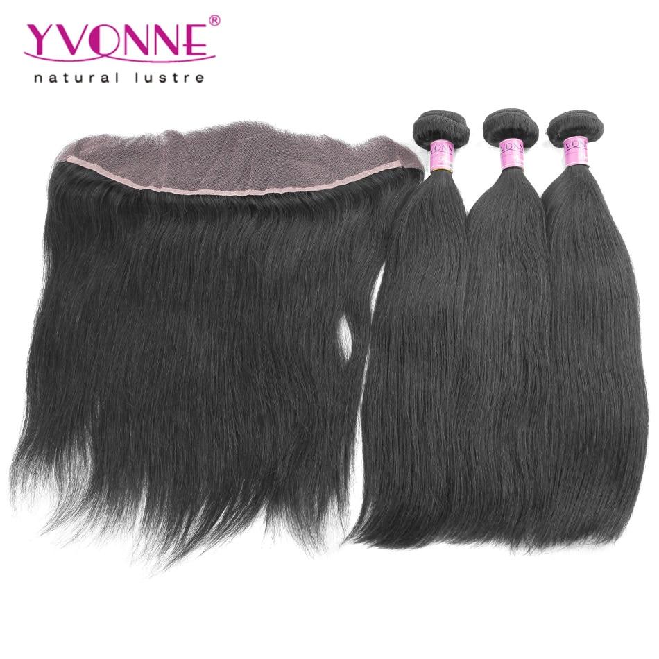 ФОТО Brazilian Straight Lace Frontal Closure With Bundles,1Pcs Lace Frontal Closure 13.5x4 With 3Pcs YVONNE Human Hair Bundles