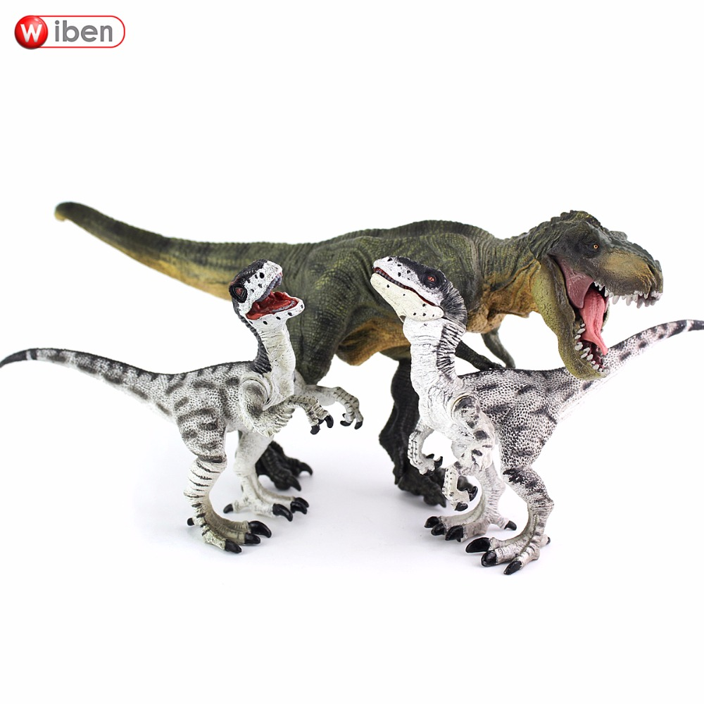 все цены на Wiben Jurassic Tyrannosaurus Rex Velociraptor Dinosaur Toys Animal Action Figure Collectible Model Toy for Boys