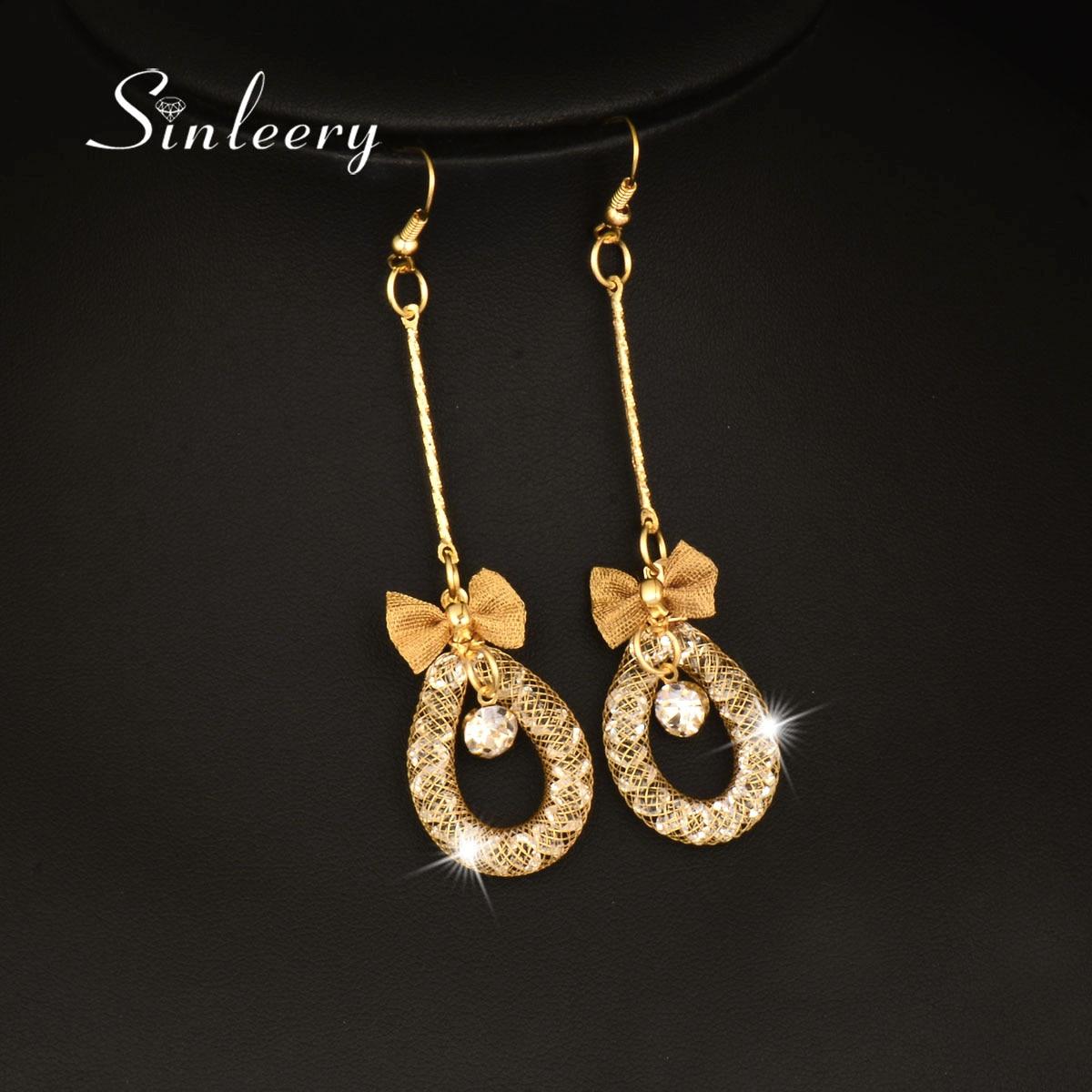 Sinleery Luxury Mesh Rhinestone Inside With Bow Drop Earrings Gold Color  Long Dangle Earring Fashion Jewelry