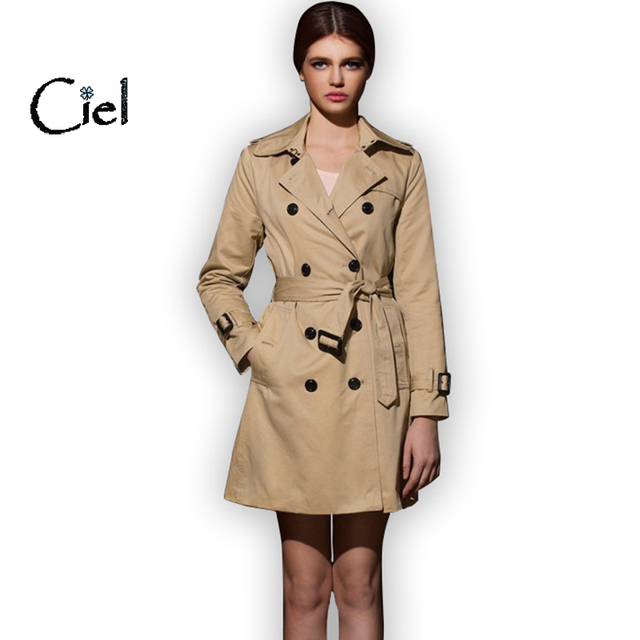 New women brand fashion trench coat double breasted autumn with dress burb pocket belt,High quality coat feminino #393