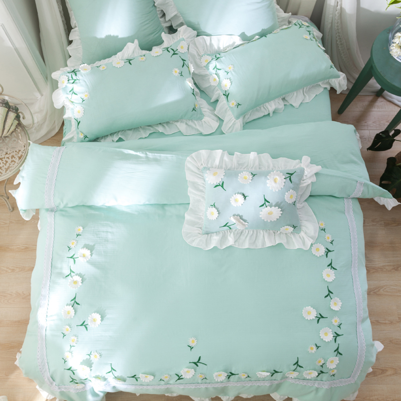 Green color 100%Cotton Korean Princess style Flower Bedding Set Queen King size Girls Bed Sheet set Duvet Cover Pillowcases #341