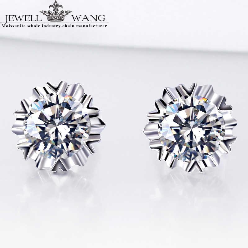 66c452e44 JEWELLWANG 18K White Gold Stud Earrings Classic Round Moissanite Certified Stud  Earrings Anniversary Oorbellen Alps Snow