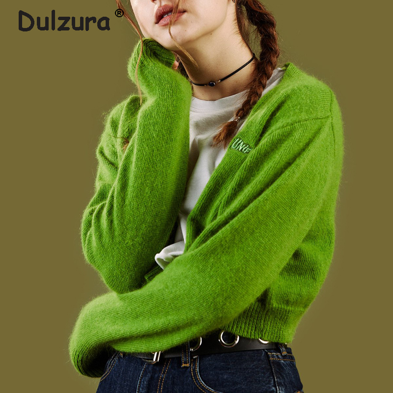 Retro Unif Sweaters Cardigans Women Long Sleeve Autumn Winter Crop Tops Letter Embroidery Casual Fitness Women Cardigan Sweater