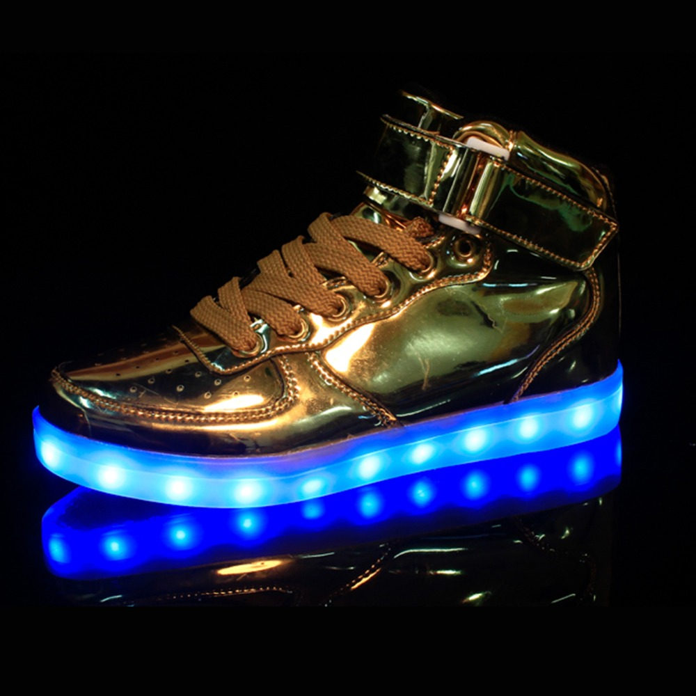 2016 New High Top Led Shoes Women And Men Fashion Light Up