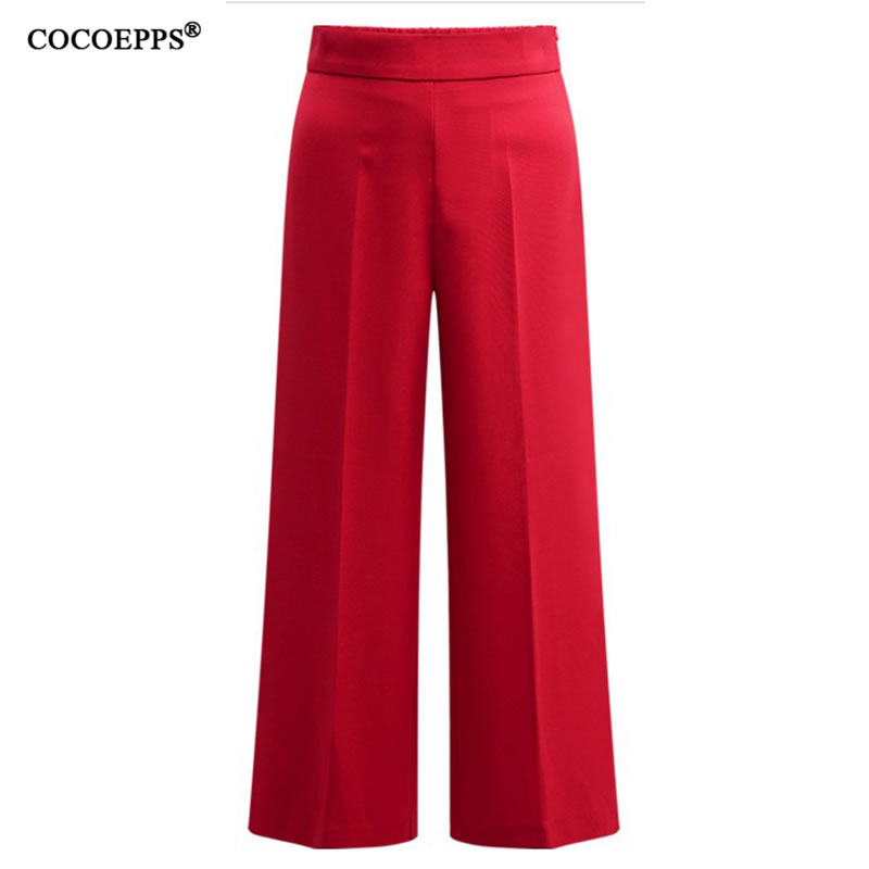 COCOEPPS 2019 New Fashion Summer Plus Size Casual Loose Pants Women Straight Black Regular Big Size Solid High Waist Long Pants