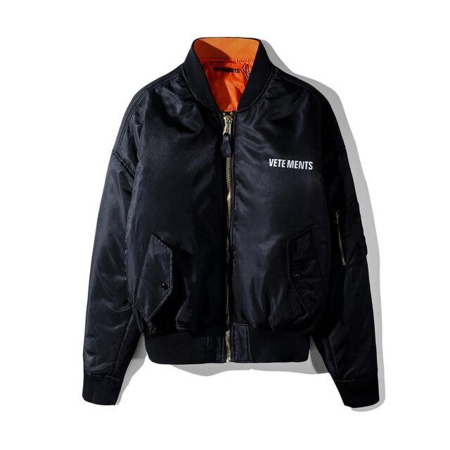 2018 Vetements Reversible Women Men Unisex Ma1 Bomber Jacket Coat