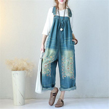hot deal buy buykud vintage embroidered denim jumpsuits jeans woman backless overalls women suspenders wide leg pants bib boots jumpsuits