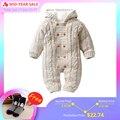 IYEAL/толстые теплые детские комбинезоны; зимняя одежда для новорожденных мальчиков и девочек; вязаный свитер; комбинезон с капюшоном; детска...