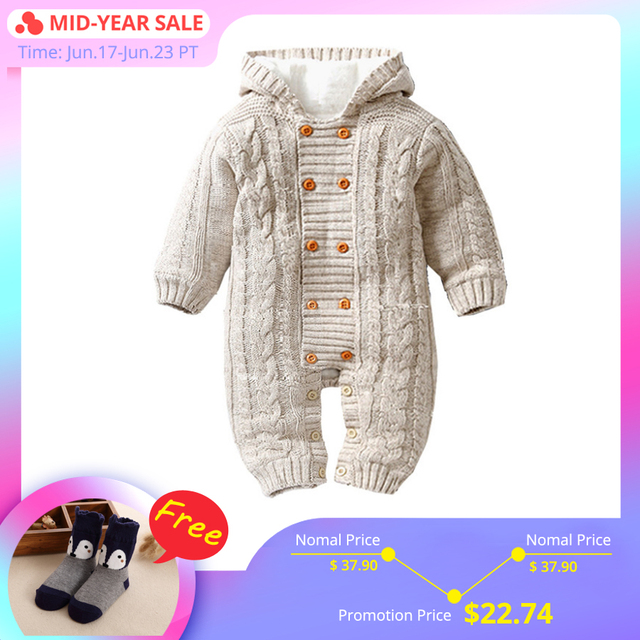 9d590b155 IYEAL Thick Warm Infant Baby Rompers Winter Clothes Newborn Baby Boy Girl  Knitted Sweater Jumpsuit Hooded Kid Toddler Outerwear