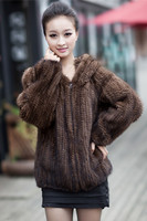 Mink braided jacket large size lady hooded fur fashion casual jacket mink knit fur fur mink clothes