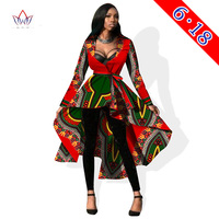 2016 New Women Trench Coat Skirted African Wax Autumn Women Long Skirt Outwear Private Custom Printed