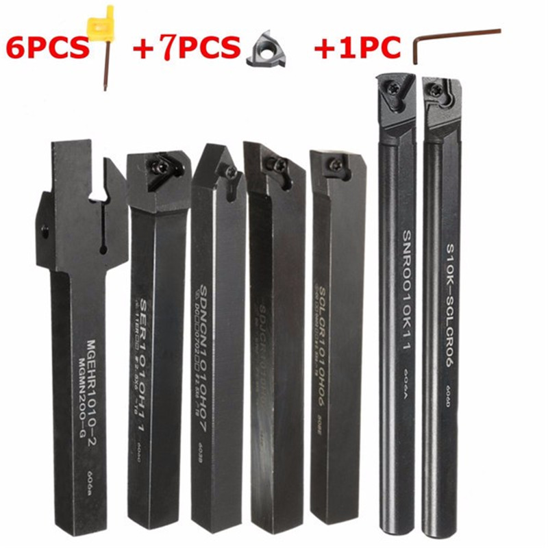 6pcs Good Precision Lathe Turning Tool Holder Boring Bar 10mm Shank + 7pcs Carbide PVD Inserts Blade Set + 1pcs Wrenches 6pcs good precision lathe turning tool holder boring bar 10mm shank 7pcs carbide pvd inserts blade set 1pcs wrenches