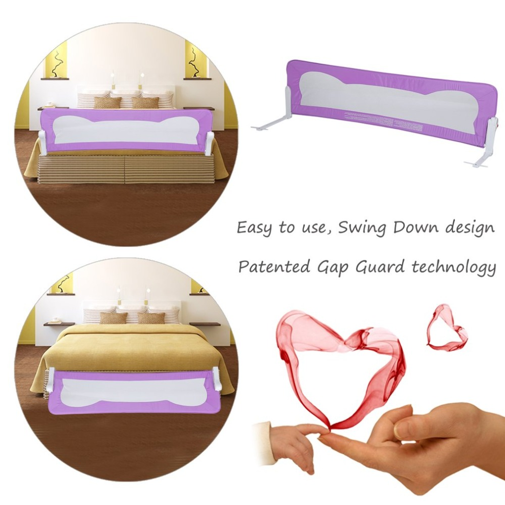 Folding Baby Toddler Guardrail Guard Bar Safety Sleeping Infant Child Bed Fence 102*42cm For Children Bed