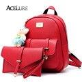 ACELURE Female Pu Leather Backpacks Beige Casual School Bags For Teenage Girls Mochila Feminina Ladies Sweet Backapcks 8412