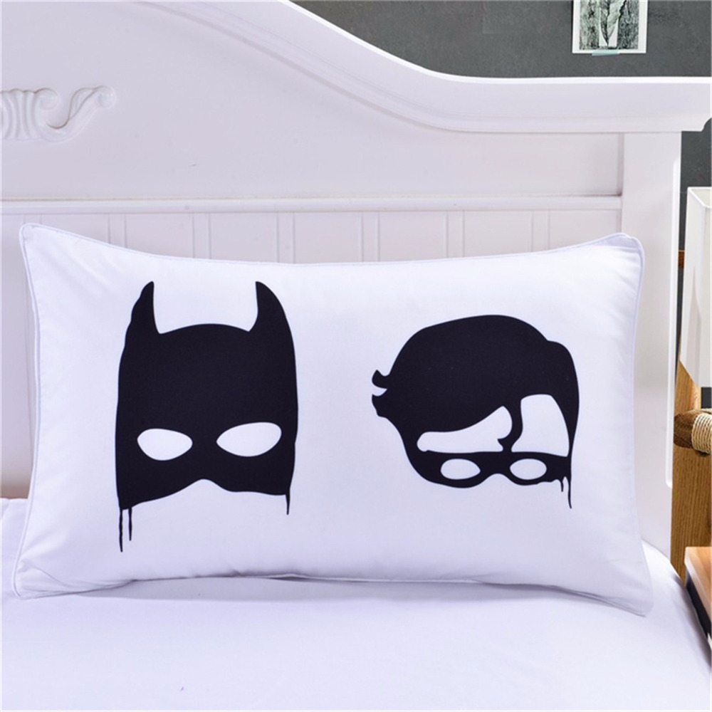 1pc Polyester Cartoon Black Batman Printed Pillow Case Cover Soft Home Hotel Office Bed Pillowcase Bedclothes For Kids Adults image