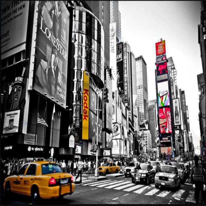 Us 885 41 Offbeibehang Custom Large Scale Murals Retro Black And White New York Times Square Tv Backdrop Non Woven Wallpaper In Wallpapers From