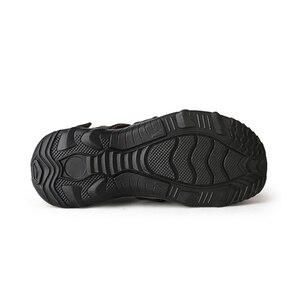 Image 4 - YWEEN 남성 샌들 가죽 여름 중공 통기성 미끄럼 방지 캐주얼 아웃 도어 비치 신발 대형 EUR45 48