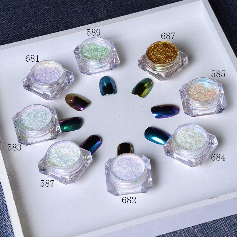 где купить BORN PRETTY 8Pcs/Set Bling Mirror Nail Glitter Chameleon Powder Gorgeous Nail Art Sequins Chrome Pigment Glitters по лучшей цене