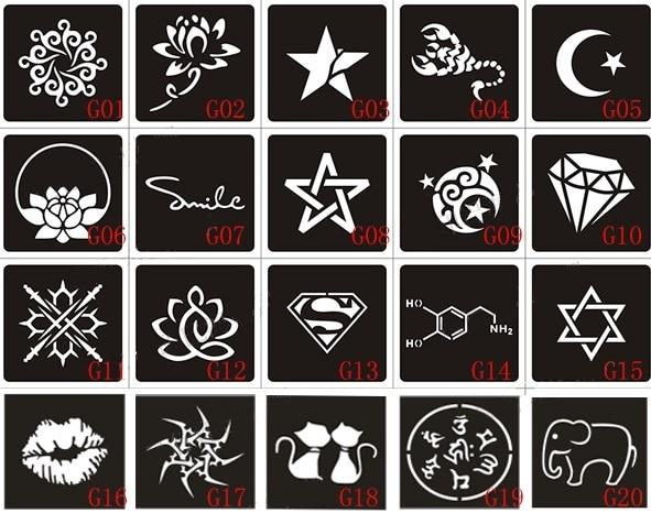 20 штук хной татуировка трафаретов и шаблон для росписи, аэрография тату Трафареты для татуировки 6x6 см и 10x6 см