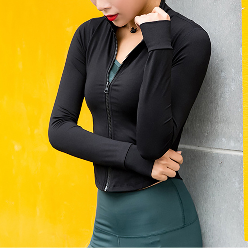 Running Jacket Women Long Sleeve Zip Fitness Yoga Shirt Top Workout Gym Activewear Sport Coats Training Quick Dry Nylon Spandex