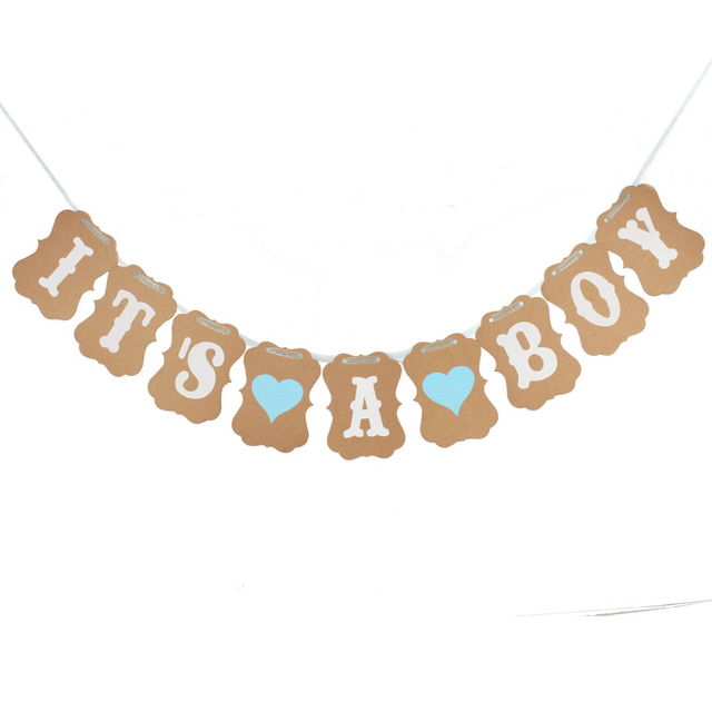 Lincaier Baby Shower 3M Paper Its a Boy Girl Banner Party Baptism Decoration Bunting Favors Supplies Blue Pink Babyshower
