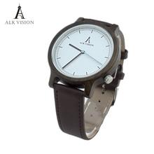 Unisex reloj de madera ALK Visión De Madera Moda reloj para hombre de primeras marcas de lujo relojes de las mujeres Señoras de la banda de reloj de Cuero