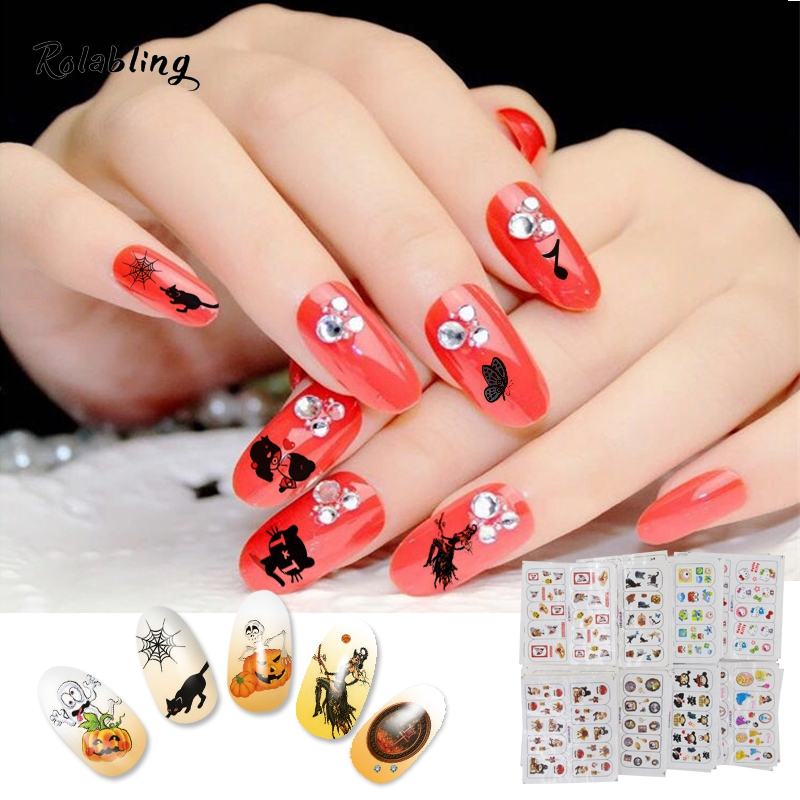 40PCS Nail Art Christmas & Halloween & Cute Doll Design Water Transfer Mix Decal Sticker Nail Art Decoration Beauty Accessories wild style water transfer decal nail art decoration sticker
