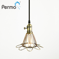 Permo Retro Bird cage Pendant Lights Vintage Pendant Ceiling Lamps Modern Loft Stair Kitchen Luminaire Hanglamp Lights Fixture