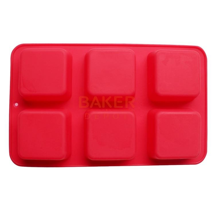 silikonová forma na dort čokoládový želé pudink dezert ručně vyráběné mýdlo 6 cavacity square CDSM-291