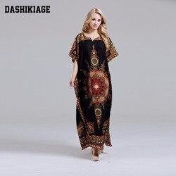 Dashikiage Novos Chegada das Mulheres 100% Algodão de Impressão Africano Dashiki Deslumbrante Africano elegante Senhoras Vestido