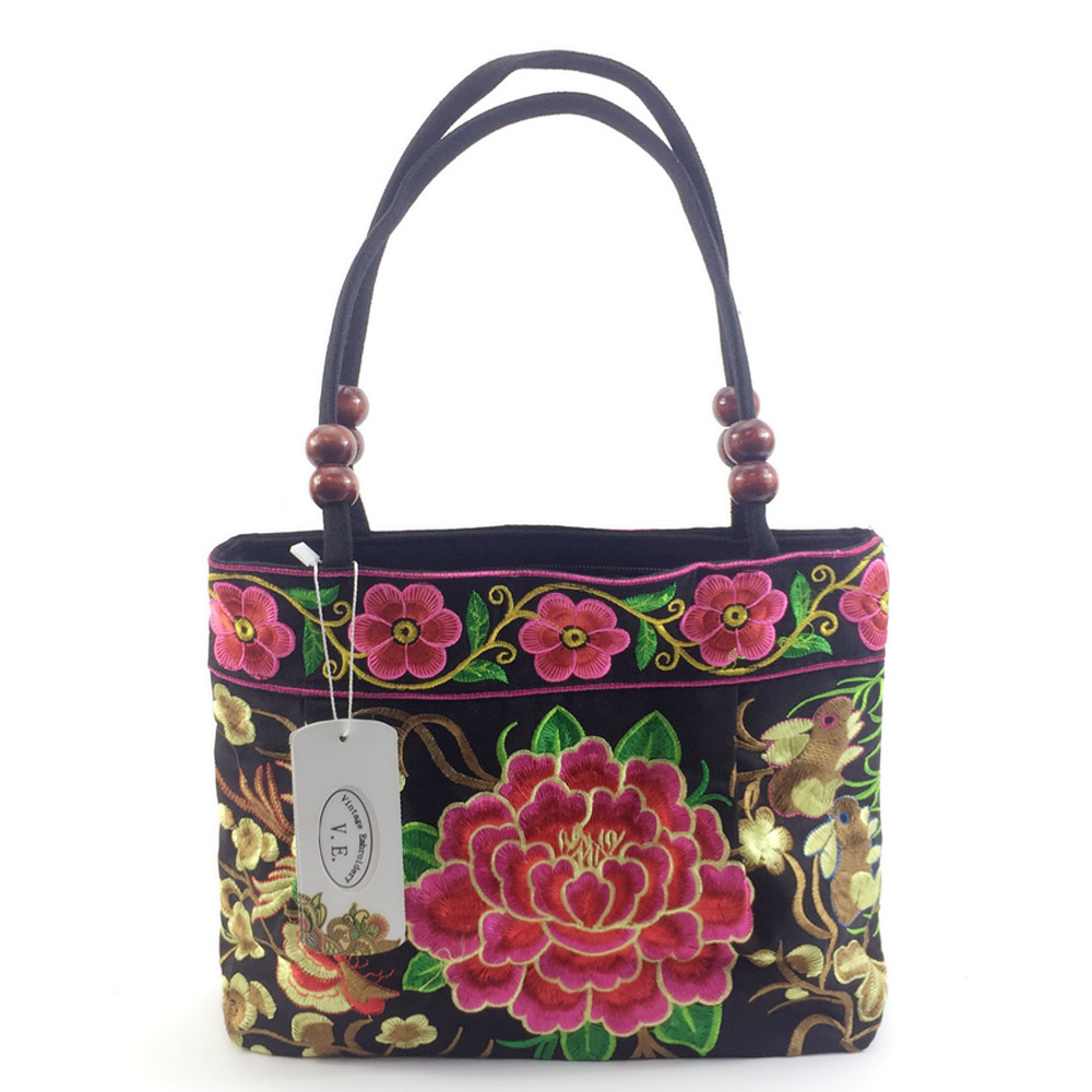 Bolsas de bordado étnico nacional de la vendimia del estilo chino bolso de hombro bordado de viaje de compras bolso Sac Femme Bolsos