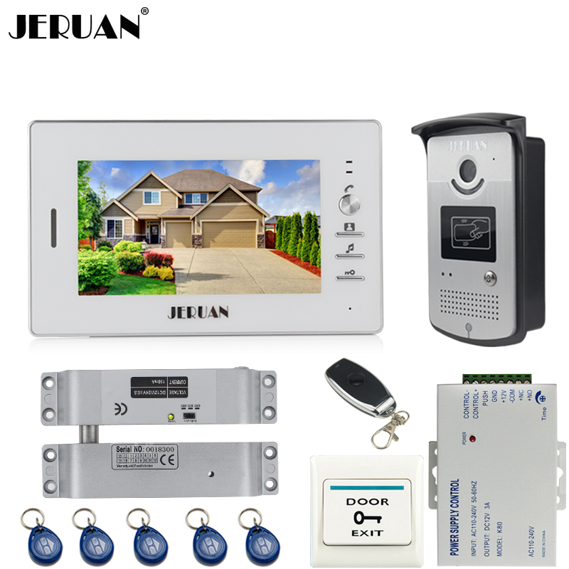 JERUAN Home Wired 7 inch LCD video door phone Entry intercom system kit waterproof 700TVL RFID Access IR Night Vision Camera