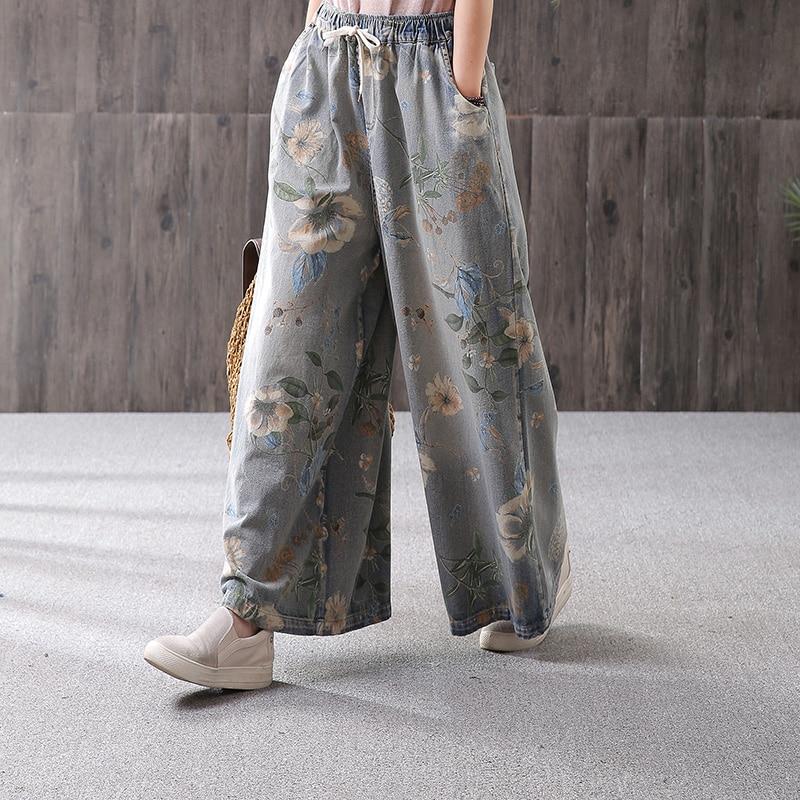 شحن مجاني 2019 الأزياء واسعة الساق الكاحل طول السراويل للنساء السراويل الجينز مرونة الخصر عارضة سراويل قطنية طباعة-في جينز من ملابس نسائية على  مجموعة 1