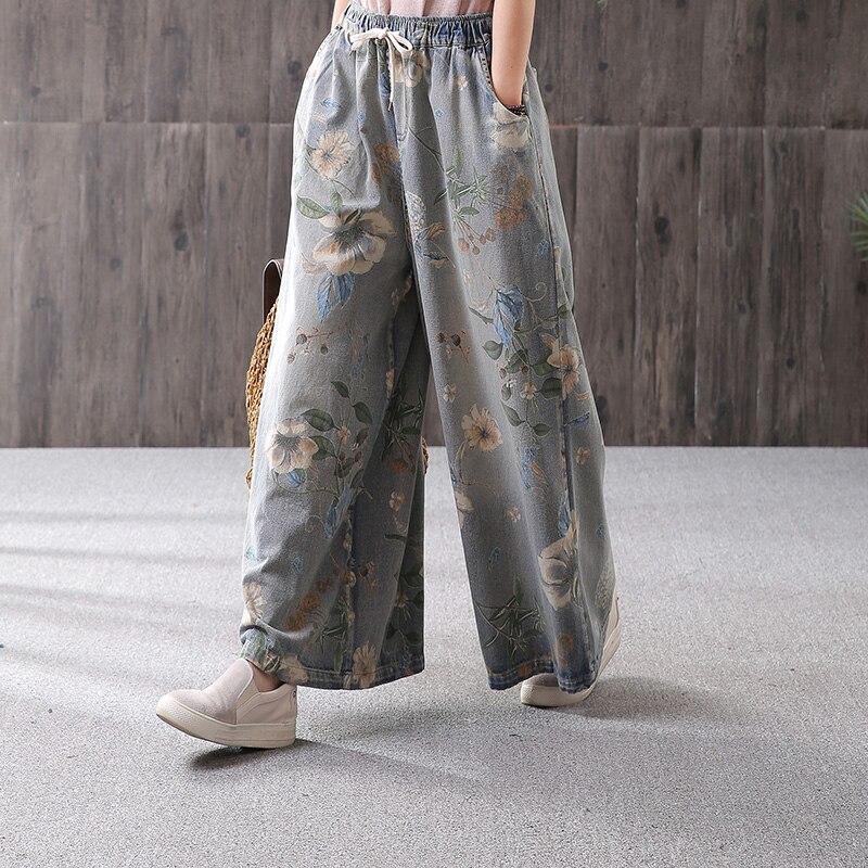 Livraison gratuite 2019 mode large jambe cheville longueur pantalon pour femmes pantalon Denim Jeans taille élastique décontracté coton pantalon imprimer