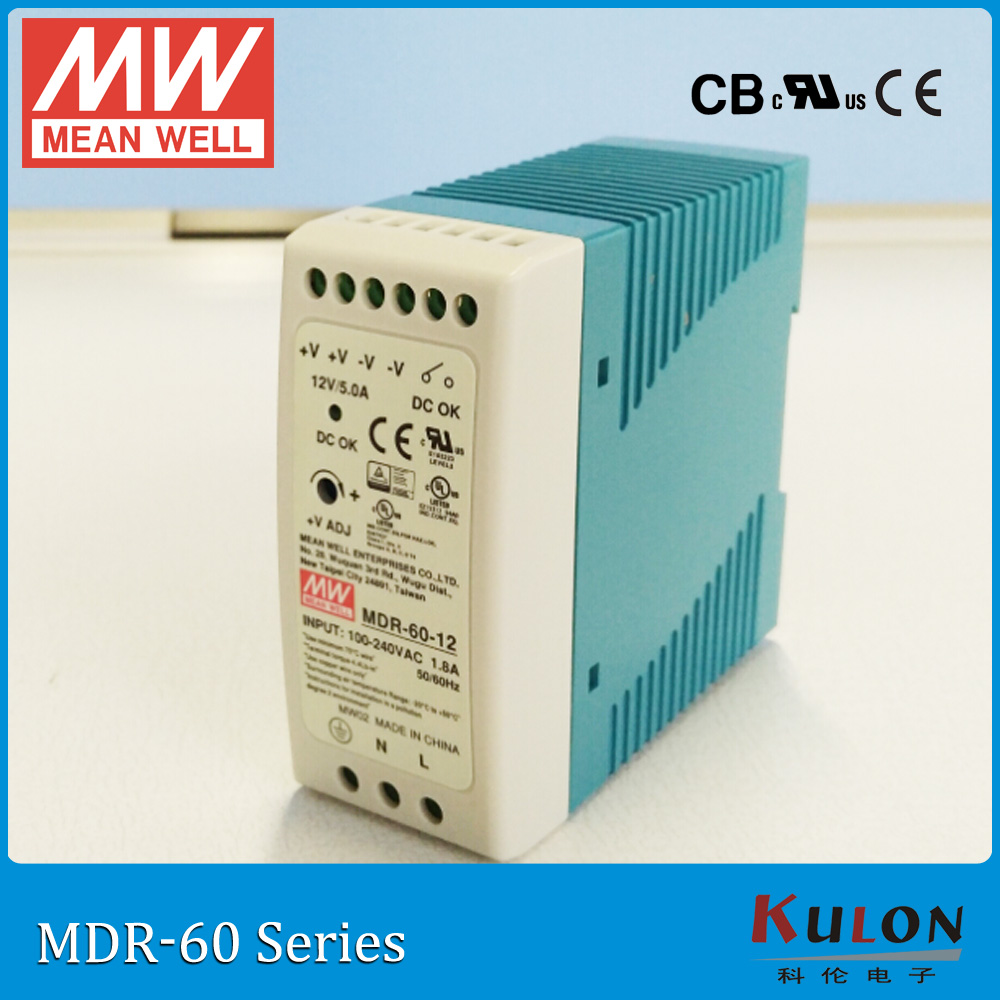 Original MEAN WELL MDR-60-5 Industrial DIN Rail mounted 12A 60W 5V Power Supply input 85~264VAC to 5V DC power supply free shipping din rail industry switching power supply mdr 60w 5v 12a for cnc cctv led light mdr60w 5v