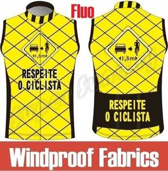 2018 a prueba de viento Jerseys sin mangas hombres desgaste de ciclo Road Race Jersey cortavientos ropa deportiva amarillo Fluo Bike chaqueta envío gratis 18MJ1