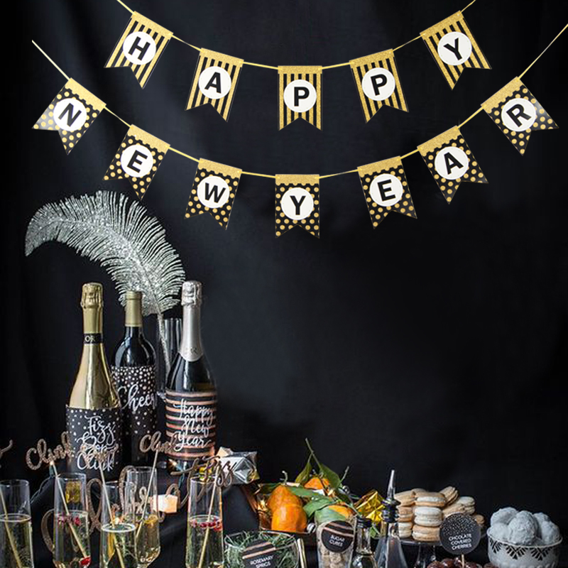 Happy New Year Banner Black Glitter Gold Polka Dots 2019 ...