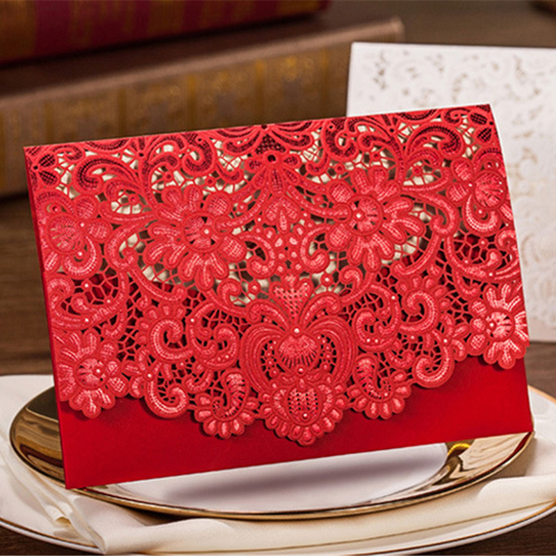 20pcsset gold red white hollow laser cut floral flower wedding 20pcsset gold red white hollow laser cut floral flower wedding invitation cards embossing business cards party decorations card in cards invitations from reheart Gallery