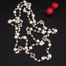 Корейская версия дамы длинное ожерелье кристалл свитер цепи Мода многослойное жемчужное ожерелье в форме цветка
