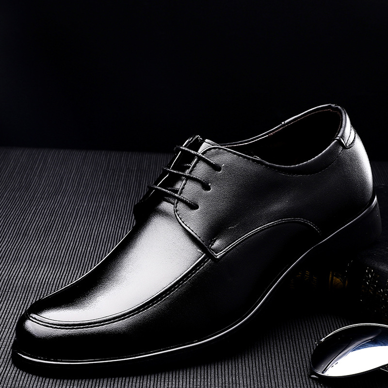 Autumn New Soft Leather Men 39 s Business Suit Lace Leisure Flat Sole Luxury Black Leather Shoes Elegant Men 39 s Wedding Dress Shoes in Formal Shoes from Shoes